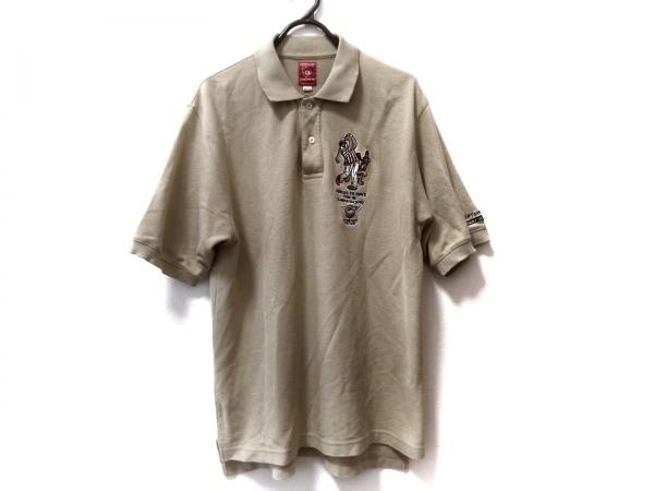 キャプテンサンタ 半袖ポロシャツ サイズM メンズ ライトカーキ×マルチ GOLF CLUB