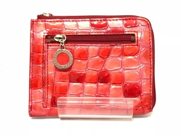 コッコフィオーレ 財布 レッド×ピンク 型押し加工/L字ファスナー エナメル(レザー)