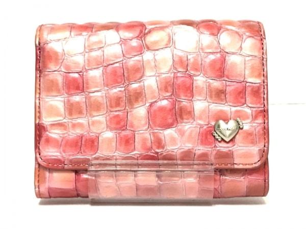 コッコフィオーレ 2つ折り財布美品  ピンク×ベージュ エナメル(レザー)