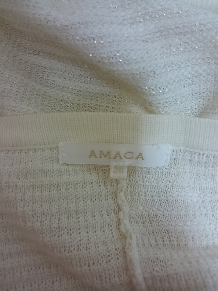 AMACA(アマカ) カーディガン レディース アイボリー×白×シルバー ボーダー