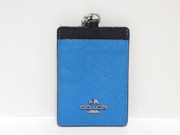COACH(コーチ) パスケース - ライトブルー×ネイビー×ライトグリーン レザー