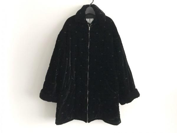 オリバーバレンチノ コート サイズ42 L レディース美品  黒 ベロア/ジップアップ/冬物