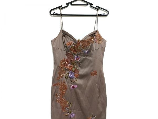 mandalay(マンダレイ) ドレス サイズ4 XL レディース ライトブラウン×マルチ