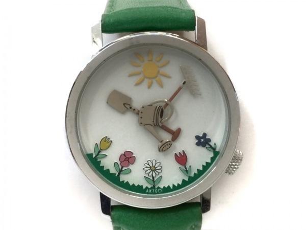 AKTEO(アクティオ) 腕時計 - レディース 革ベルト 白×マルチ