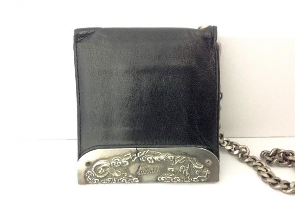 JeanPaulGAULTIER(ゴルチエ) 2つ折り財布 黒×シルバー レザー×金属素材
