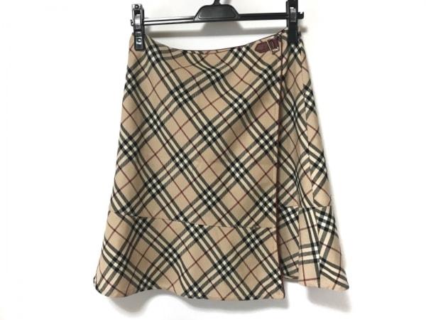 バーバリーブルーレーベル 巻きスカート サイズ38 M レディース ベージュ×黒×レッド