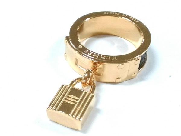 HERMES(エルメス) スカーフリング美品  ケリー 金属素材 ゴールド×黒