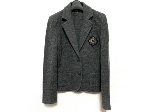 レコパン ジャケット サイズ40 M レディース美品  グレー ビーズ/ラインストーン