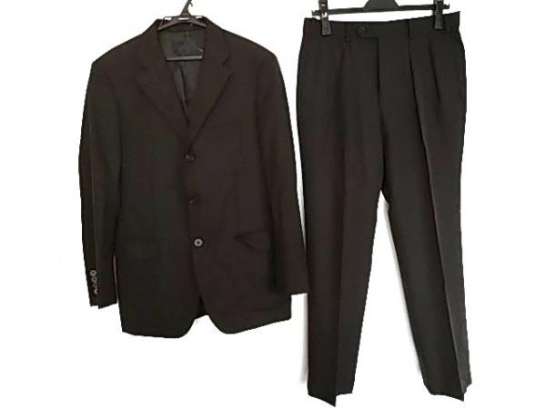 バーバリーブラックレーベル シングルスーツ メンズ美品  黒×グレー ストライプ