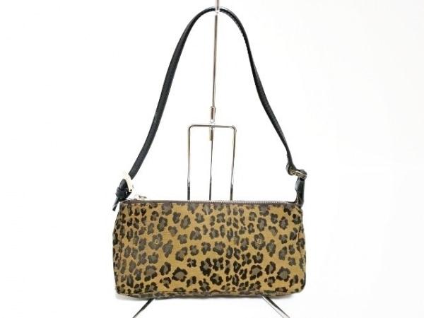 フェンディ ショルダーバッグ - - ブラウン×黒×マルチ 豹柄 ジャガード×レザー