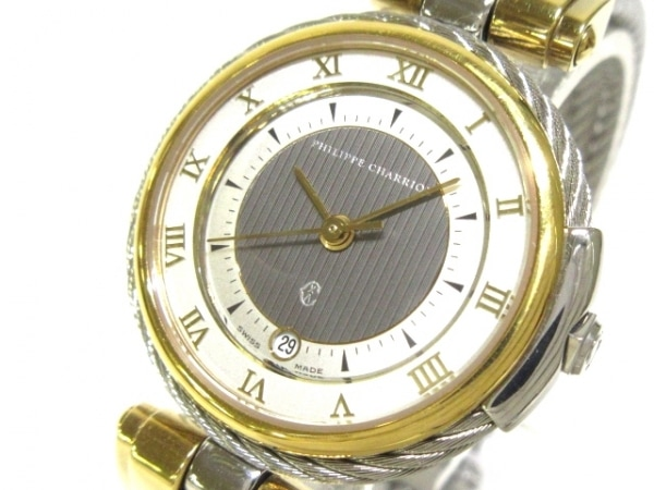 フィリップシャリオール 腕時計 ケルティック - レディース ダークグレー×シルバー