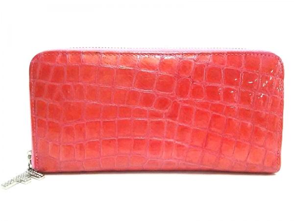 FRECCIA(フレッチャ) 長財布 ピンク ラウンドファスナー/型押し加工/ラインストーン