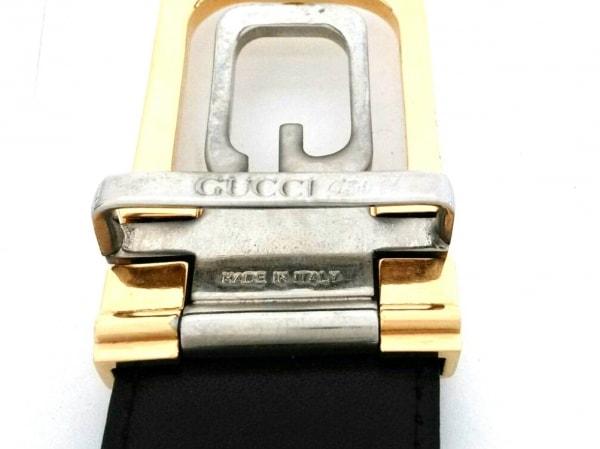 GUCCI PLUS(グッチプラス) ベルト 黒×ゴールド×シルバー レザー×金属素材
