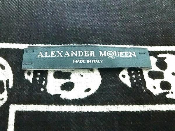 アレキサンダーマックイーン ストール(ショール)美品  黒×白 スカル ウール×シルク