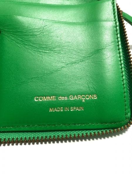 コムデギャルソン 長財布 グリーン ラウンドファスナー/型押し加工 レザー