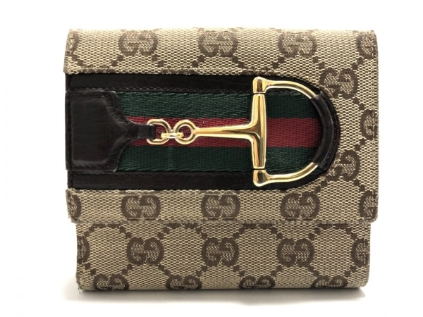 GUCCI(グッチ) Wホック財布 ホースビット/シェリー/GG柄 138029 ジャガード×レザー