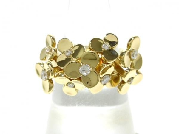 RUGIADA(ルジアダ) リング美品  K18YG×ダイヤモンド 9Pダイヤ/フラワー