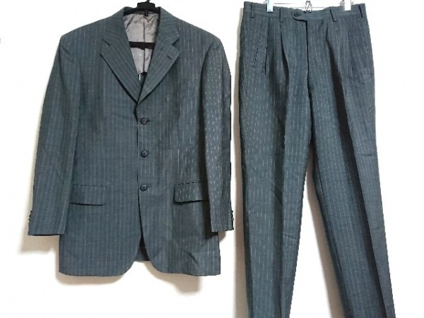 ErmenegildoZegna(ゼニア) シングルスーツ メンズ新品同様  グレー×ライトグレー