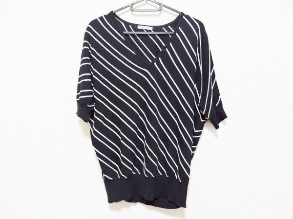 セオリーリュクス 半袖セーター サイズ38 M レディース 黒×白 ドルマンスリーブ