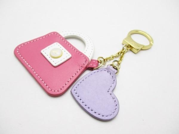 キタムラ キーホルダー(チャーム) ピンク×マルチ バッグモチーフ レザー×金属素材