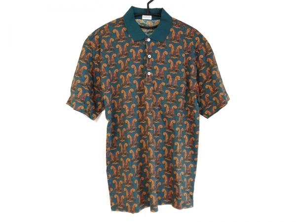 LANVIN(ランバン) 半袖ポロシャツ メンズ美品  ネイビー×マルチ