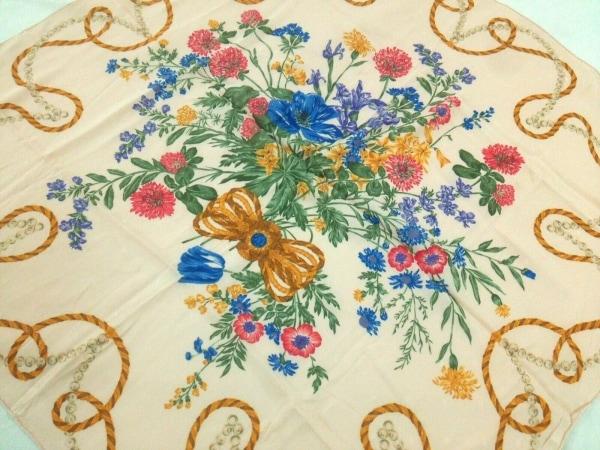 NINARICCI(ニナリッチ) スカーフ美品  ベージュ×ブルー×マルチ 花柄