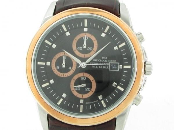 ザクロックハウス 腕時計美品  CH020M メンズ クロノグラフ/革ベルト/型押し加工 黒