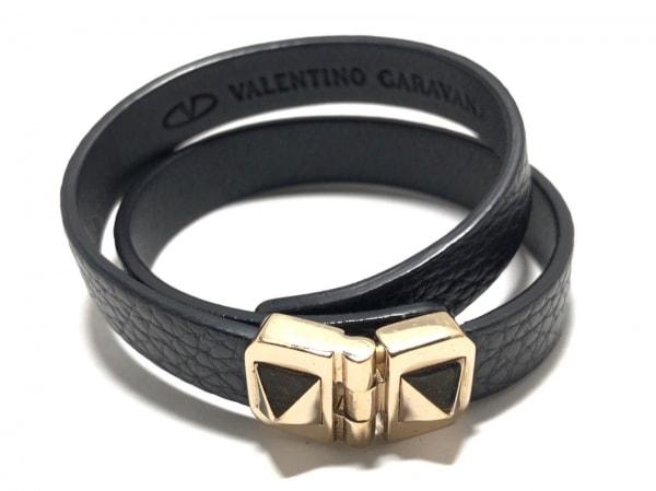 バレンチノガラバーニ ブレスレット美品  レザー×金属素材 黒×ゴールド