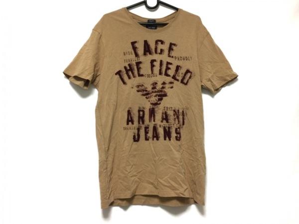 ARMANIJEANS(アルマーニジーンズ) 半袖Tシャツ メンズ ライトブラウン×ボルドー