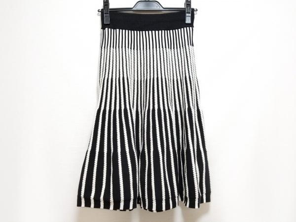 HIROKO BIS(ヒロコビス) スカート サイズ9 M レディース美品  白×黒 ストライプ