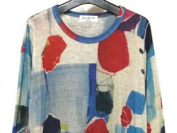ヨウジヤマモト 長袖セーター サイズ3 L メンズ アイボリー×ライトブルー×レッド