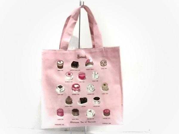 HARRODS(ハロッズ) トートバッグ美品  ピンク×マルチ コーティングキャンバス
