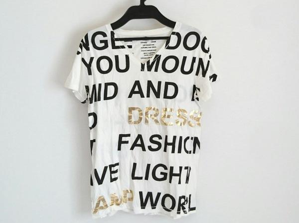DRESS CAMP(ドレスキャンプ) 半袖カットソー サイズ44 L レディース 白×黒×ゴールド