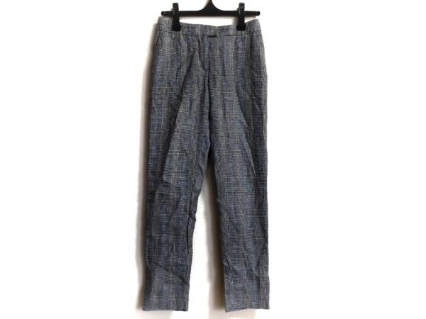 エルマノシェルビーノ パンツ サイズ38 M レディース 白×黒×ライトブルー 千鳥格子