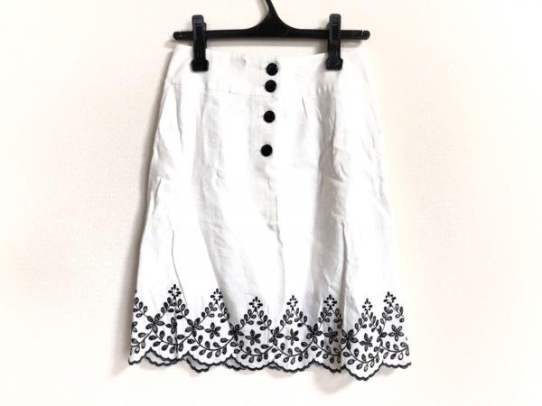 YUKITORII(ユキトリイ) スカート サイズ38 M レディース 白×黒 刺繍