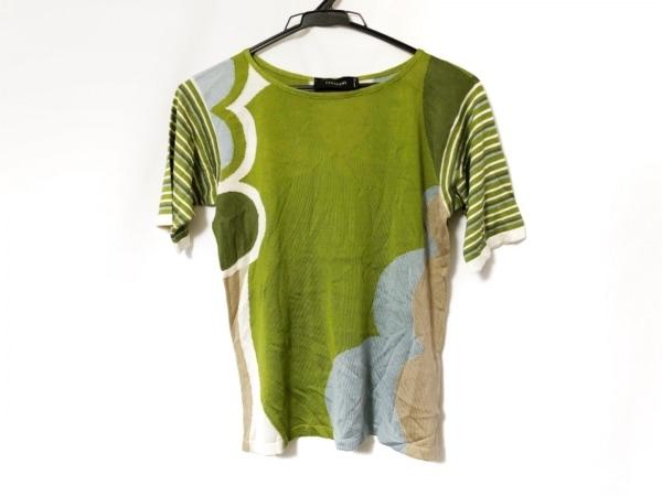 チヴィディーニ 半袖セーター サイズ42 M レディース グリーン×マルチ シルク