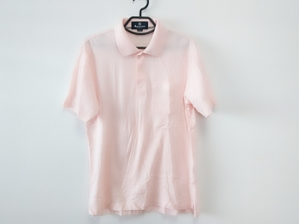 Aquascutum(アクアスキュータム) 半袖ポロシャツ サイズM メンズ新品同様  ピンク