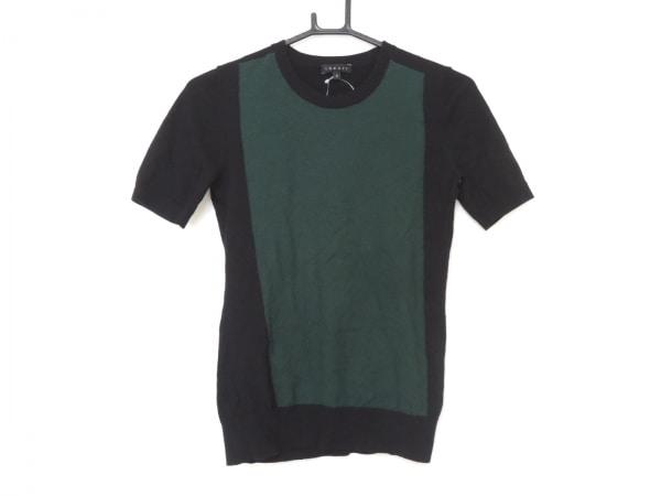 theory(セオリー) 半袖セーター サイズS レディース グリーン×黒