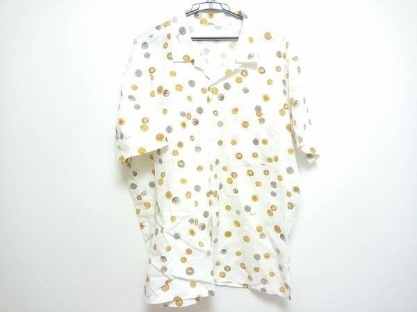 Papas(パパス) 半袖シャツ メンズ 白×イエローブラウン×マルチ