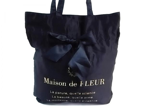 Maison de FLEUR(メゾンドフルール) トートバッグ 黒×ゴールド ポリエステル