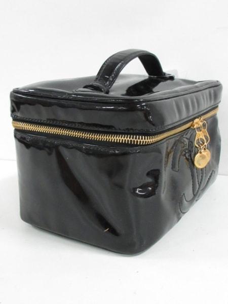 シャネル バニティバッグ - - 黒 ココマーク/ゴールド金具 エナメル(レザー)