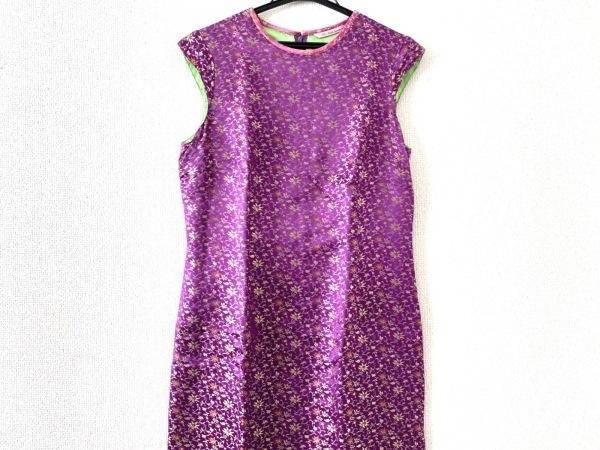ポールスミスウィメン ドレス サイズ40 M レディース美品  パープル×マルチ