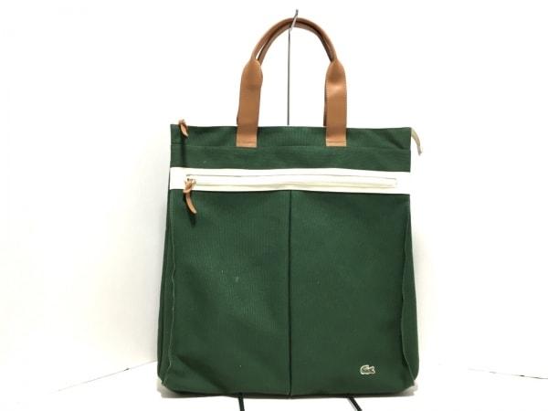 Lacoste(ラコステ) ハンドバッグ美品  ダークグリーン×ブラウン キャンバス×レザー