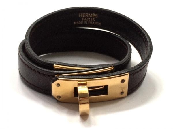 エルメス ブレスレット美品  ケリードゥブルトゥール レザー×金属素材 ゴールド金具