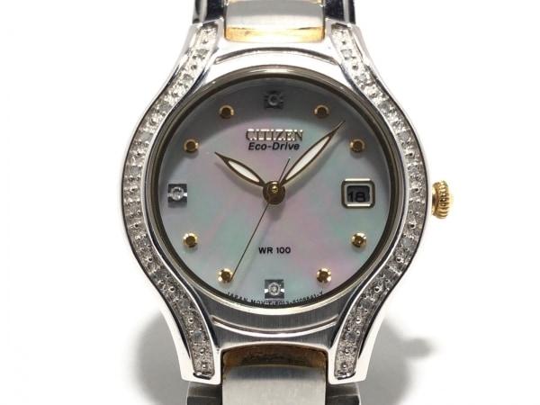 シチズン 腕時計美品  エコドライブ E013-S075025 レディース シェルホワイト