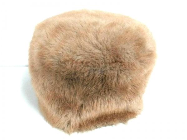 CA4LA(カシラ) 帽子美品  ベージュ×黒×グレー フェイクファー/千鳥格子 化学繊維