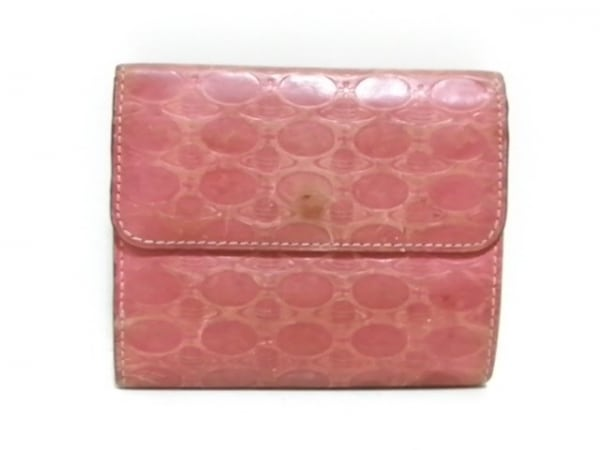 ヴィヴィアンウエストウッド 3つ折り財布 ピンク 型押し加工 レザー