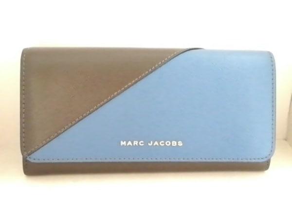 MARC JACOBS(マークジェイコブス) 長財布美品  - - ダークブラウン×ブルー レザー