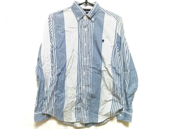 ジムフレックス 長袖シャツブラウス サイズ14 XL レディース美品  白×ブルー×マルチ