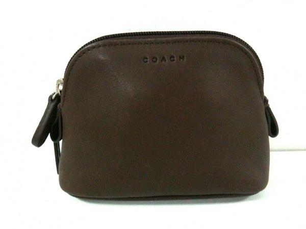 COACH(コーチ) ポーチ美品  - - ダークブラウン レザー 1